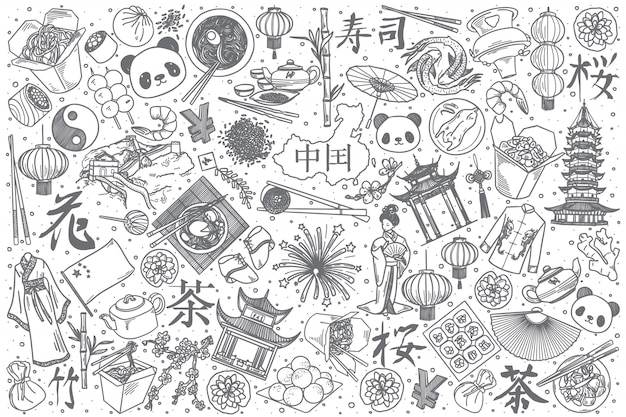 Ensemble de doodle chine dessiné à la main