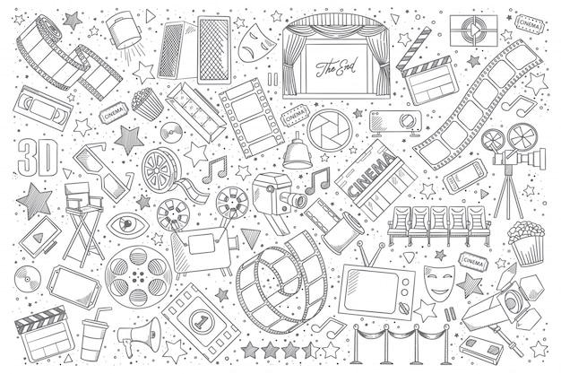 Ensemble de doodle cinéma