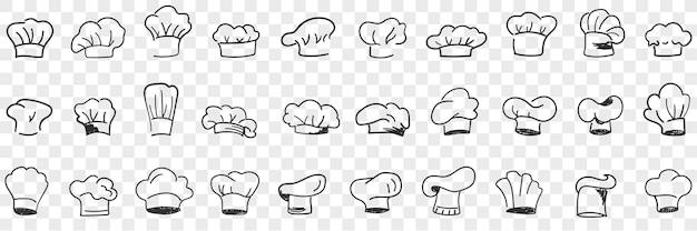 Ensemble de doodle coiffe de casquette de cuisiniers