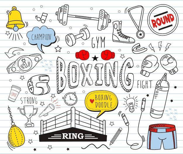 Ensemble de doodle coloré sur fond de papier. éléments de boxe.