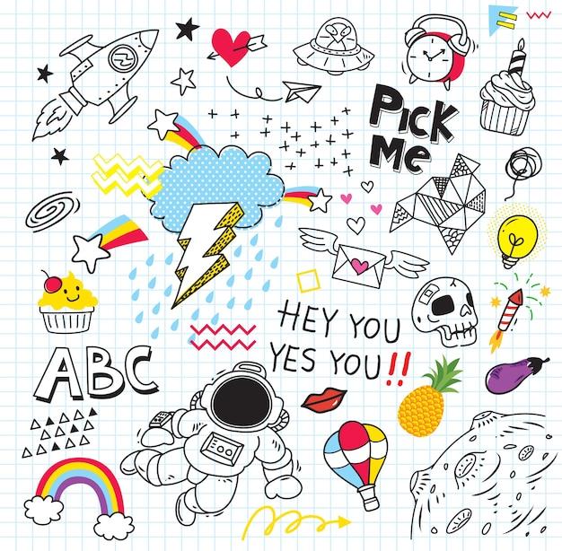 Ensemble de doodle coloré sur fond de papier