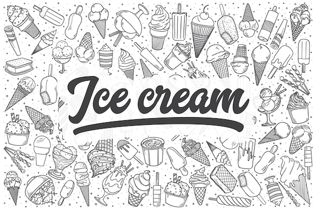 Ensemble de doodle de crème glacée dessinés à la main. lettrage - glace