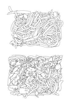Ensemble de doodle de croquis linéaire de nouilles udon
