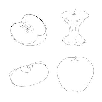 Ensemble de doodle croquis linéaire pommes