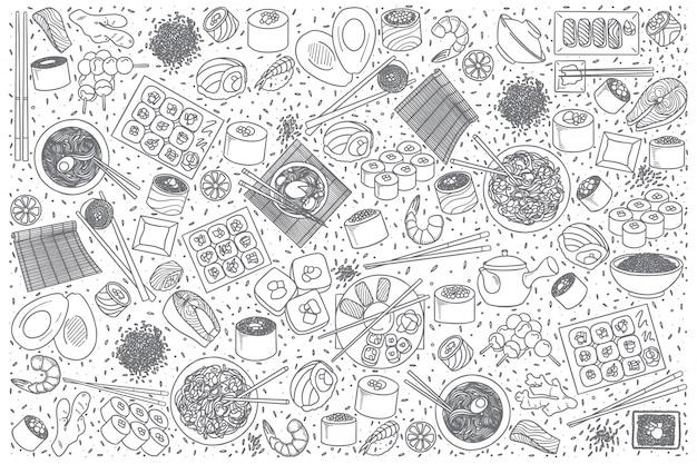 Ensemble de doodle de cuisine japonaise