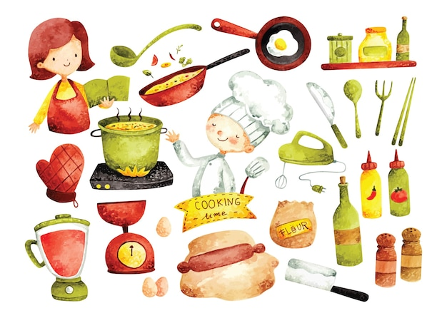 Ensemble de doodle de cuisine, ustensiles de cuisine et ingrédients dans un style aquarelle