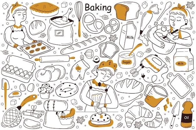 Ensemble de doodle de cuisson