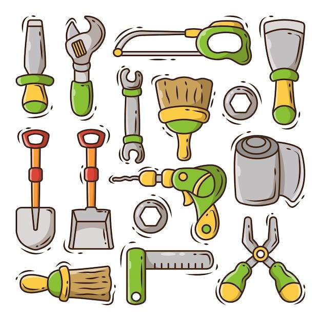 Ensemble de doodle de dessin animé de matériel de construction dessiné à la main