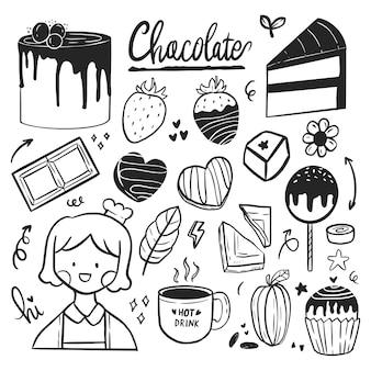 Ensemble de doodle de dessin d'autocollants mignons pour l'art de la ligne d'illustration de la journée mondiale du chocolat