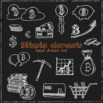Ensemble de doodle dessiné main éléments bitcoin