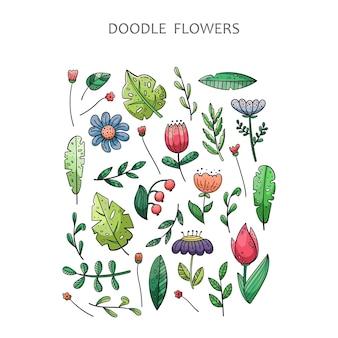 Ensemble de doodle dessiné à la main des éléments floraux. fleurs, plantes, feuilles.