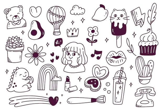 Ensemble de doodle dessiné main mignon