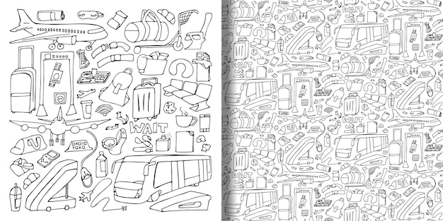 Ensemble de doodle dessinés à la main de l'aéroport et modèle sans couture illustrations vectorielles de papier peint de voyage doodle
