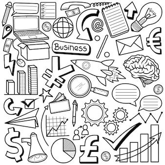 Ensemble doodle dessinés à la main d'affaires