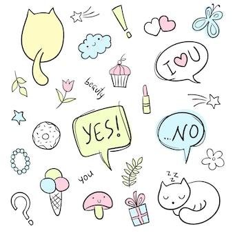 Ensemble de doodle dessinés à la main de vecteur ensemble de dessins animés d'art en ligne d'objets et de symboles
