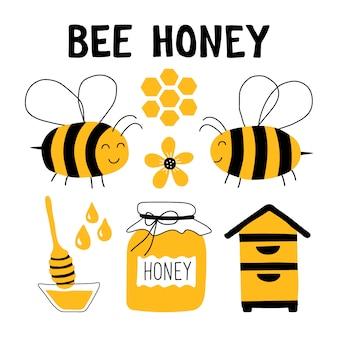 Ensemble de doodle drôle de miel.
