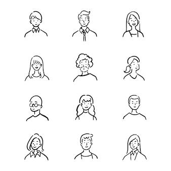 Ensemble de doodle d'employés de bureau d'avatar
