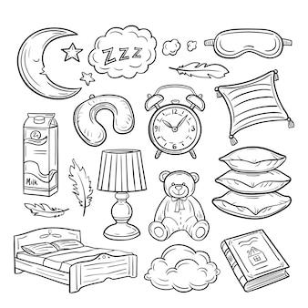 Ensemble de doodle endormi. oreillers de sommeil plumes rêvent zzz nuit rêver. collection dessinée à la main au coucher