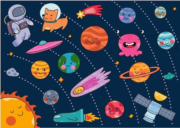 Ensemble de doodle espace style kawaii