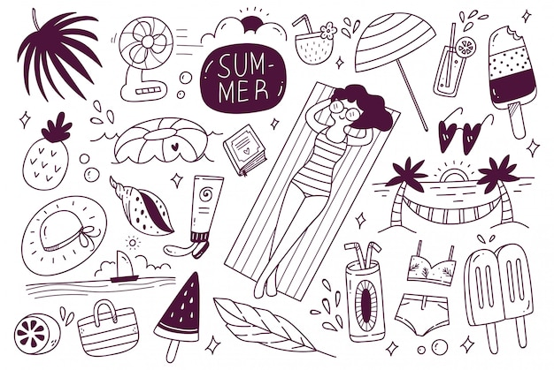 Ensemble de doodle d'été