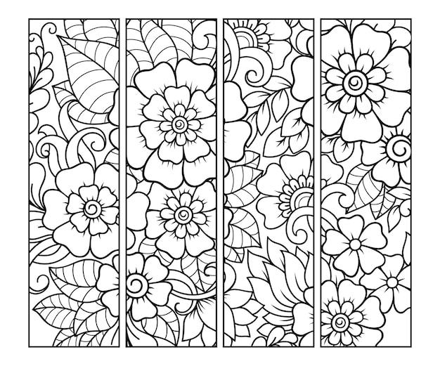 Ensemble de doodle floral noir et blanc, dessiner à la main dans le style mehndi.