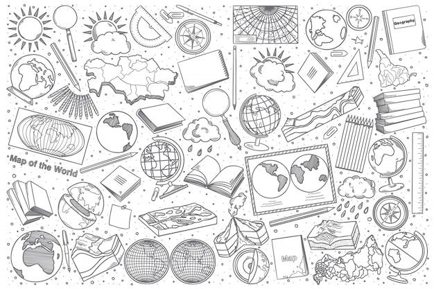 Ensemble de doodle géographie dessiné à la main