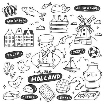 Ensemble de doodle holland dessiné à la main