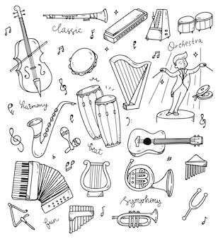 Ensemble de doodle d'instrument de musique