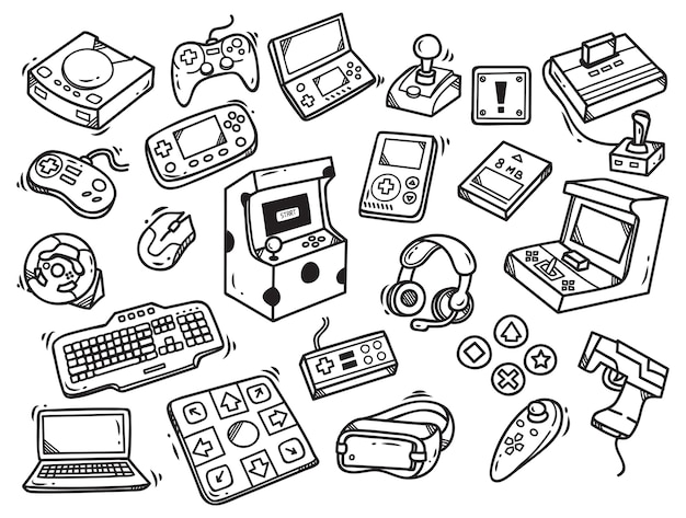 Ensemble de doodle de jeu vidéo