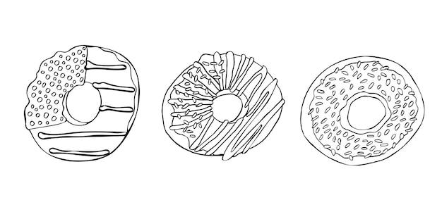 Ensemble de doodle de lineart noir et blanc de beignets