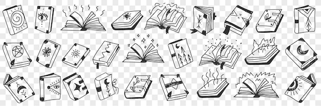 Ensemble de doodle de livres spirituels occultes