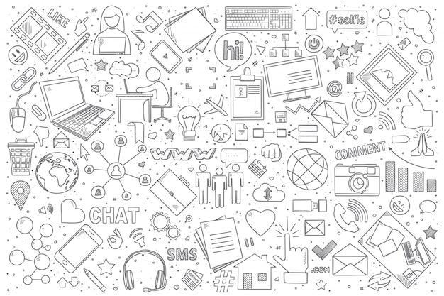 Ensemble de doodle de médias sociaux