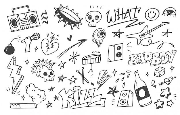 Ensemble de doodle de musique punk graffiti