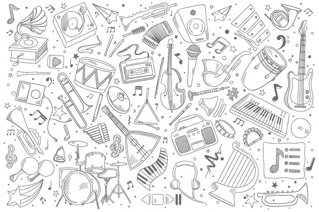 Ensemble de doodle de musique