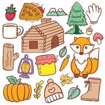 Ensemble de doodle d'objets liés à la forêt