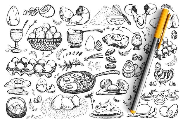 Ensemble de doodle d'oeufs de poulet.