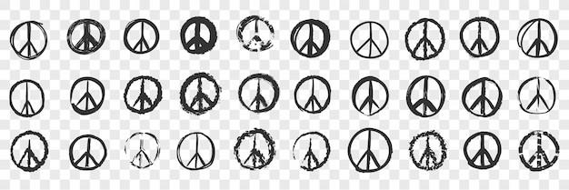 Ensemble de doodle pacifique dessiné à la main