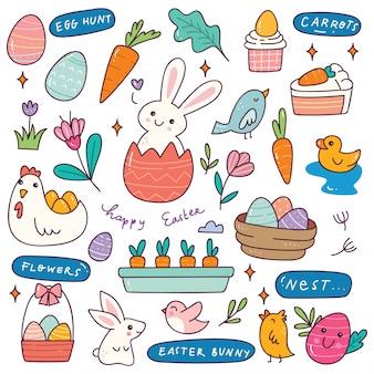 Ensemble de doodle de pâques dessinés à la main