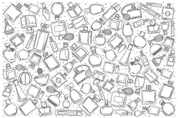 Ensemble de doodle de parfumerie dessiné à la main