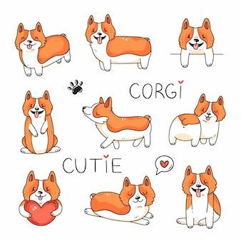Ensemble de doodle avec des personnages mignons chiens de race corgi vector illustration