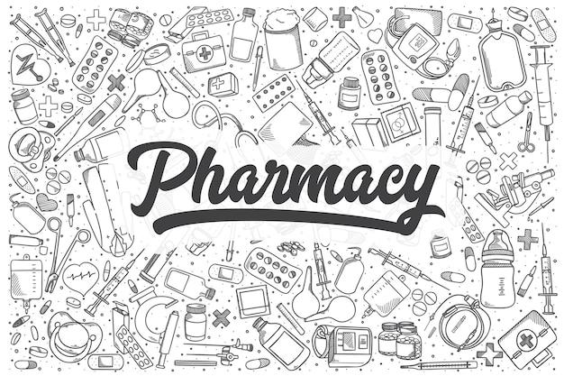 Ensemble de doodle de pharmacie dessiné à la main. lettrage - pharmacie