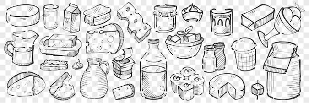 Ensemble de doodle de produits laitiers dessinés à la main. collection de croquis de dessin au crayon craie de fromage cheddar parmesan lait clabber aigre et crème glacée sur fond transparent. illustration de produits de vache.
