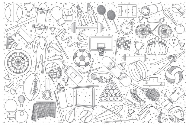 Ensemble de doodle sport