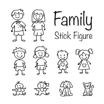 Ensemble de doodle de stick family stick