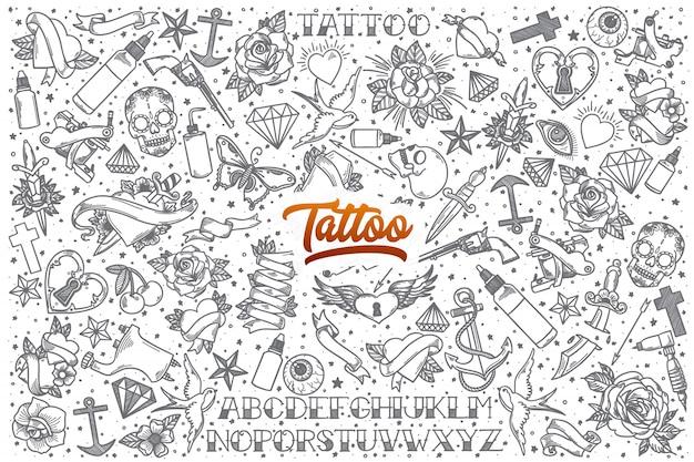 Ensemble de doodle tatouage dessiné à la main