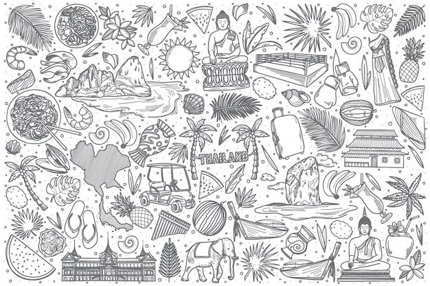Ensemble de doodle thaïlande dessiné à la main