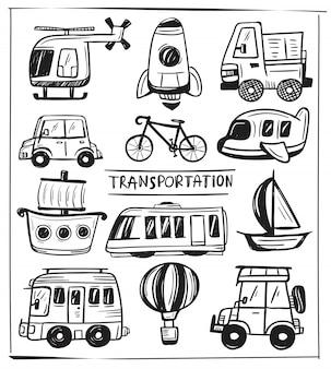 Ensemble de doodle de transport