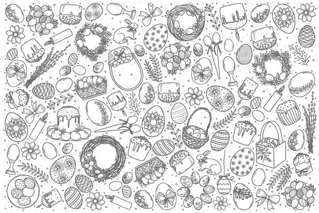 Ensemble de doodle vecteur pâques dessinés à la main