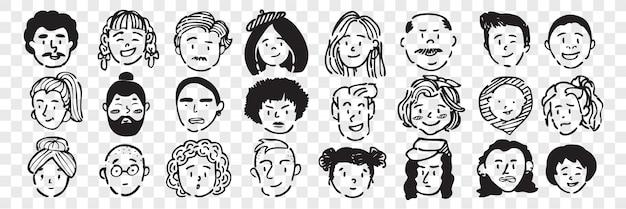 Ensemble de doodle de visages humains dessinés à la main. collection de croquis de dessin au crayon encre stylo de jeunes hommes âgés femmes garçons filles expressions faciales