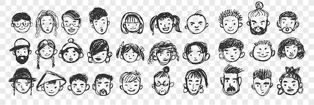 Ensemble de doodle de visages humains dessinés à la main